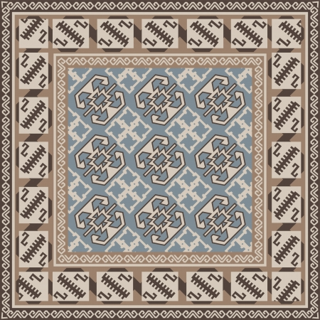 Design for square carpet in Oriental style  Illustration