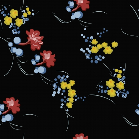 extravagant: Extravagant repeating Floral Swatch On Black Background