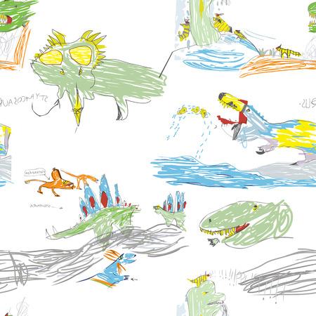 Kinderen s Like Drawing Dino Naadloze Patroon Stock Illustratie