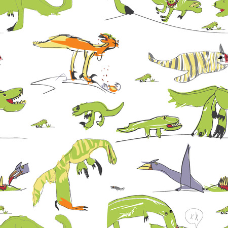 Childrens Like Drawing Dino Seamless Pattern Vector