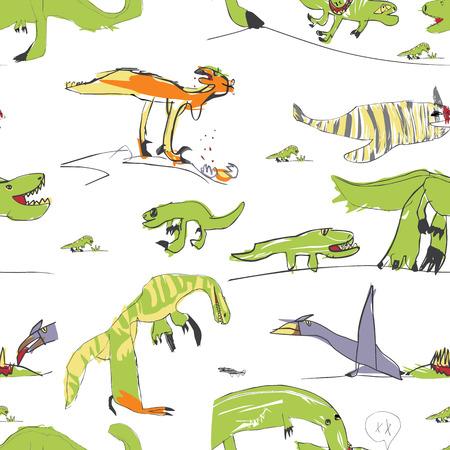 Kinderen Net als Drawing Dino Naadloze Patroon