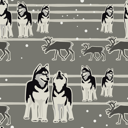 Husky Repeating Pattern Vector