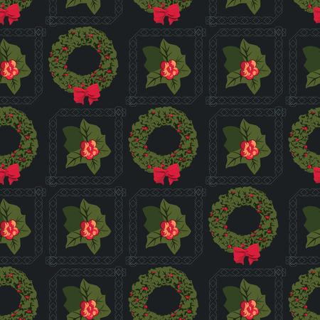 corona navidad: Patrón Corona de Adviento con motivos inconsútil de la Navidad Vectores