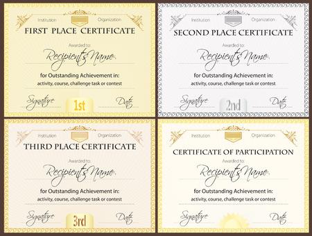Certificaat set van vier Stock Illustratie