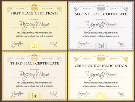 Certificate set of four Ilustrace