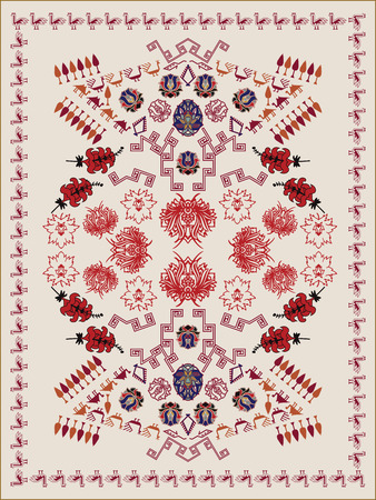 kilim: Ethnic Floral Carpet Design Illustration