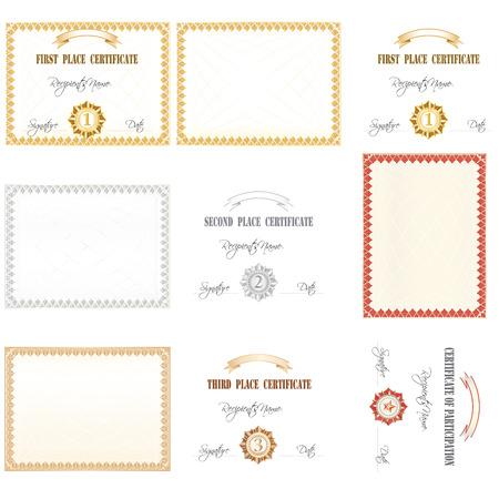 participacion: Certificado de 1,2,3 lugar y la participaci�n. Pr�ctico tambi�n para JPEG. usuarios. Vectores