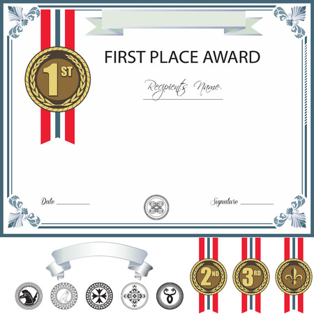Award Template With Additional Design Elements Vector  First Place Award Template