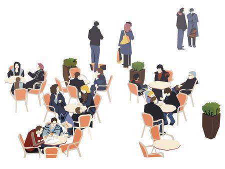 break: Mid-Shopping Coffee Break Illustration