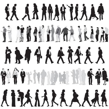 люди: Коллекция силуэты людей Иллюстрация