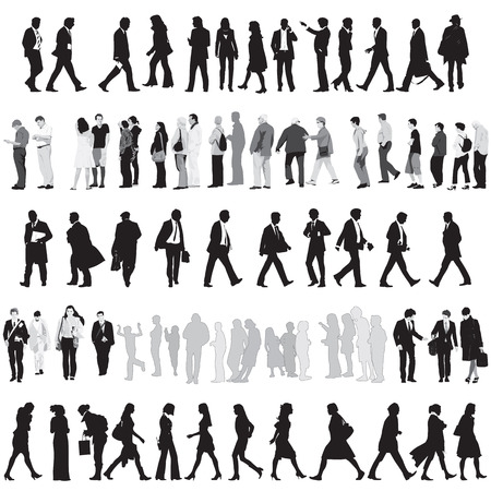 outlines: Collection Of People Silhouettes