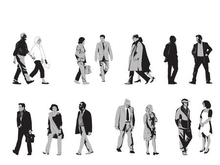 Collectie Van Senior Silhouetten Stock Illustratie