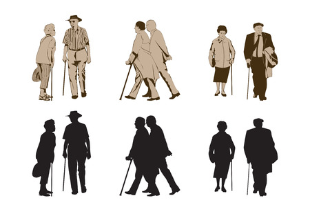 guy with walking stick: Elegant Seniors Using Walking Stick  design elements