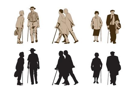 walking stick: Elegant Seniors Using Walking Stick  design elements