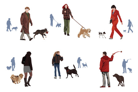 fullbody: Dogs and humans motif design elements Illustration