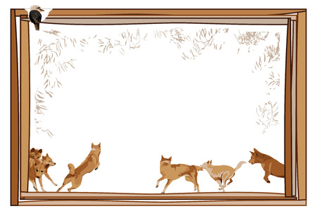 fullbody: Australia frame decorated with dingos, kookaburra and eucalyptus leaves Illustration