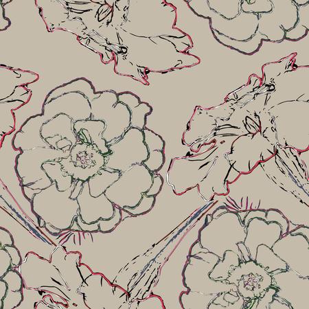 beige stof: Beige Floral Pattern