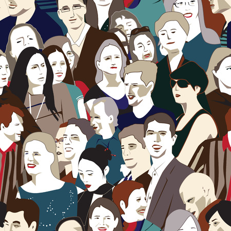 caricature woman: Crowd Of People Background Illustration