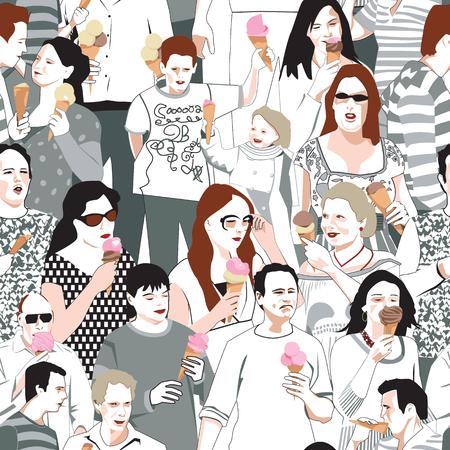 mucha gente: Patrón Ice Cream Eaters Vectores