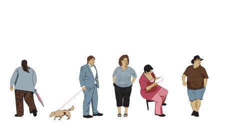 corpulent: Overweight People Set Illustration