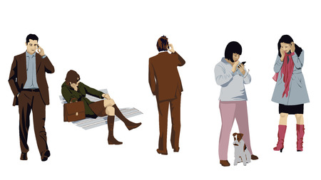 talking phone: Phoning People Set Illustration
