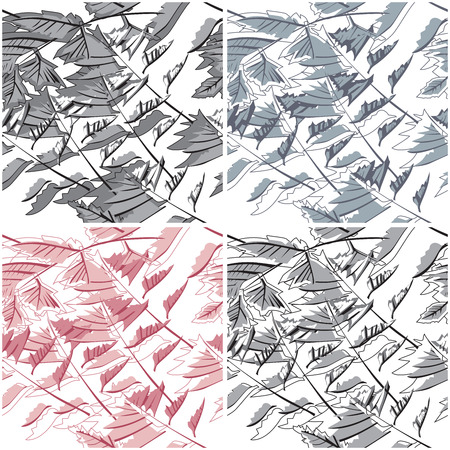 variations: Abstract  seamless leaf pattern on white with aditional color variations Illustration