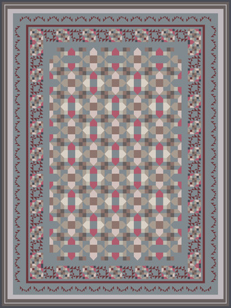 kilim: Ash Gray Tones Carpet Design Illustration