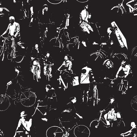bicyclists: Bicyclists Repeating Pattern Illustration
