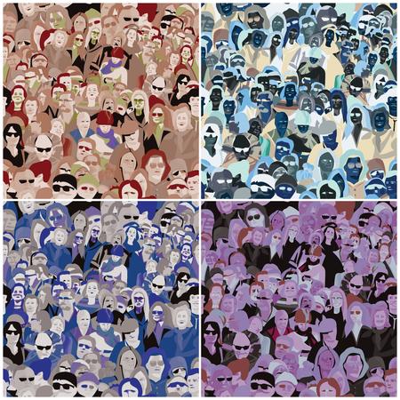 Mensen Naadloos Patroon, vier kleurvarianten ingesteld