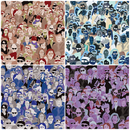 variations set: People Seamless Pattern,four color variations set Illustration
