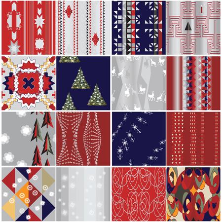 christmas wrapping: 16 Christmas seamless wrapping paper patterns set