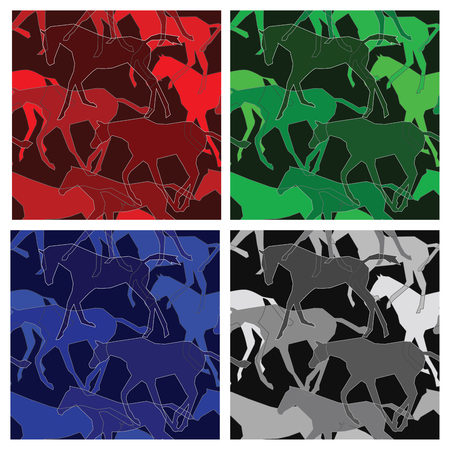 variations: Horses seamless pattern; four color variations Illustration