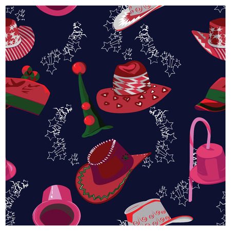 christmas hats: Christmas Hats Seamless Background