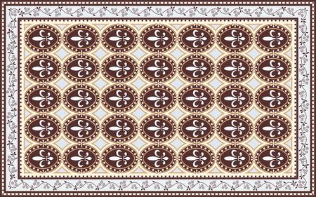 Vintage style carpet design with 'fleur de lis' motif Illustration