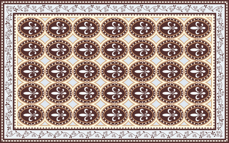 Vintage style carpet design with 'fleur de lis' motif 向量圖像