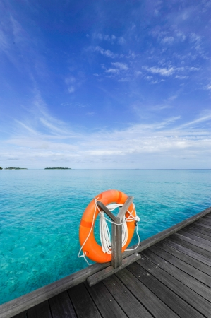 A buoy overlooks the sea in the Maldives