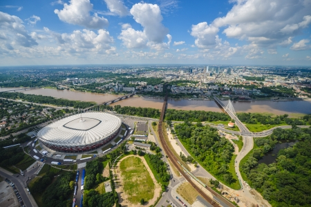 An aerial view of Warsaw, Poland from a helicopter photo