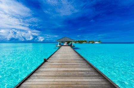 Boardwalk in the Maldives photo