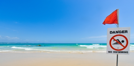 coolangatta: A no swimming danger sign at the beach