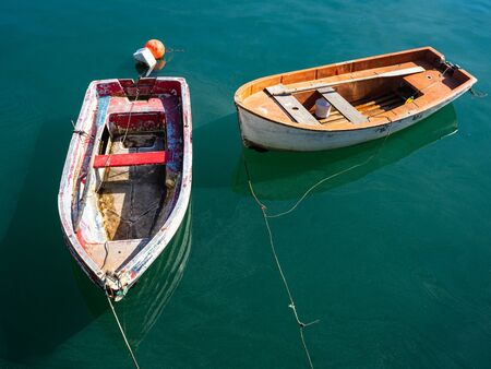 Small fishing boats in a village of the Basque Country in Spain.