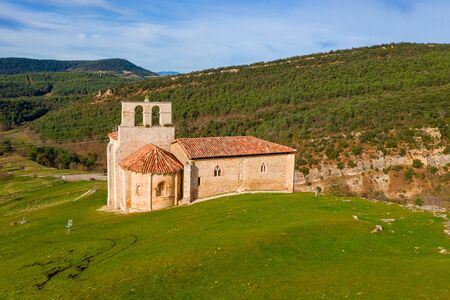 Romanesque hermitage of San Pantaleon of Losa, of the legend of the Holy Grail, in Spain.