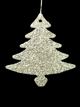 Silverl Xmas tree. Festive decoration design  for celebration on Christmas, new year, party. isolated on black background Stock Photo