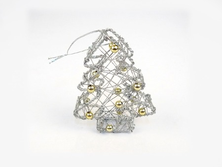 Silver Xmas tree. Festive decoration design  for celebration on christmas, new year, valentine and birthday party.