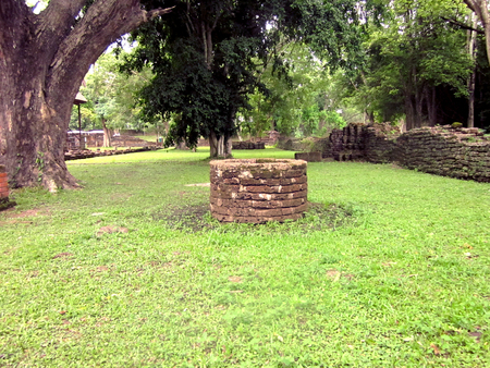 Rune of stone well at Historic Town of Sukhothai and Associated Historic Towns or Si Satchanalai Historical Park, world heritage.