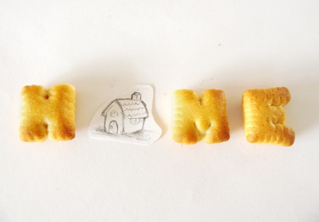 Alphabet Biscuits, Closeup of HomeMade alphabet biscuits and picture of home sketch isolated on white background. A word HOME made by alphabet biscuits and a pencil sketch of a house by myself. Stock Photo