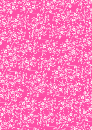 Illustration of cute swirl white flowers pattern on pink background