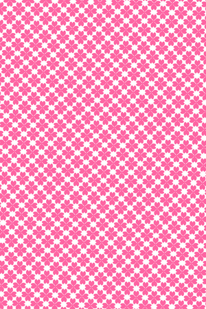 Illustration of seamless pink heart flowers pattern isolated on white background
