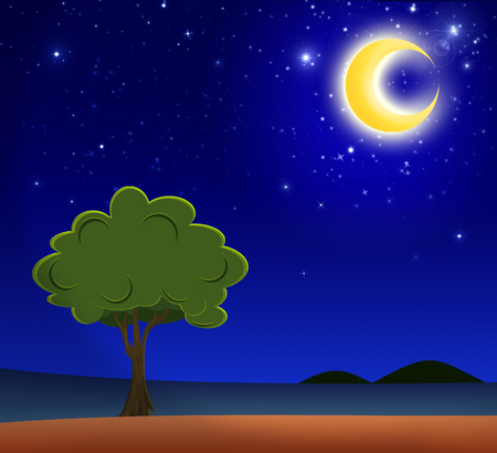 Illustration of big tree standing alone in a rural under the crescent moon light in a beautiful night.