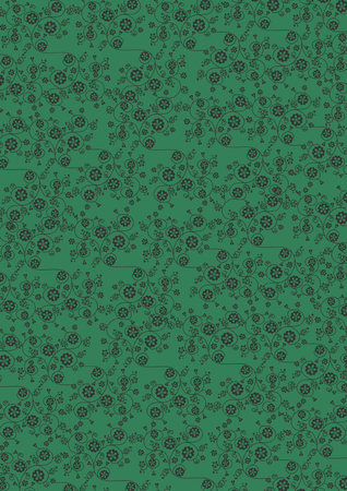 Illustration of cute swirl black flowers pattern on green background Stock Photo