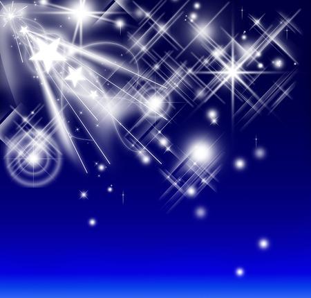 starry night: White star luminous falling in a winter Christmas night background. Design pattern of starlight shining in the dark. Stock Photo